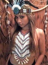 Indianerschmuck MISS JAVA Knochen Brustpanzer  War bonnet Federhaube Braslet