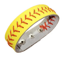 Leather Softball Bracelet Jewelry, Yellow Baseball Cuff Bracelet with 3 settings