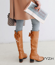 Women Round Toe Knee Boots Block Chunky Mid Heels Sweat Bowknot Casual Shoes New