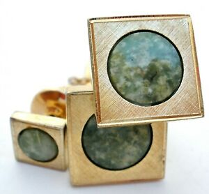Sarah Coventry Green Jade Cufflinks & Tie Tack Vintage Mens Jewelry Gold Tone