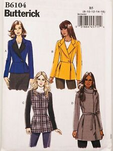 Butterick Sew Pattern 6104  Fitted Lined Lapel Jacket COAT 8-16 uncut