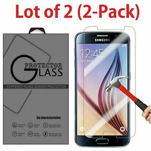 2-Pack Premium Real Tempered Glass Screen Protector for SAMSUNG Galaxy S6