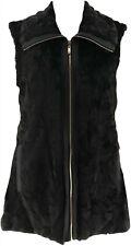 Dennis Basso Faux Fur Zip Front Jacket Zip-Off Slvs Black XS # A280537