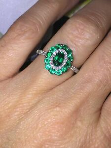 1.50Ct Oval Cut Green Emerald Halo Women's Engagement Ring 14K White Gold Over
