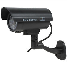 Black Flashing Light Dummy Security Camera Fake Infrared LED Surveillance CCTV