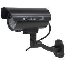Black Flashing Light Dummy Security Camera Fake Infrared LED Surveillance CCTV