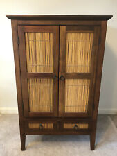 Pier 1 Solid Wood & Bamboo Armoire Cabinet Entertainment Hutch Storage Drawers