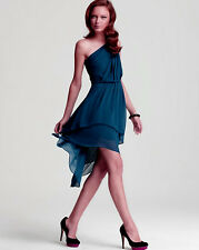 Max And Cleo by BCBG Phoebe One Shoulder Azure Blue High-Low Dress L