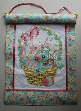 Handmade Fabric Happy Easter Egg Rabbit Basket Banner Ornament Wall Hanging