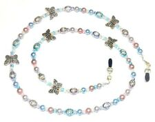 Austrian Crystal Pastel Pearls & Butterflies Eyeglass Chain Holder