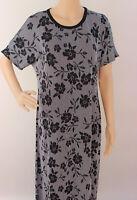 Medium LuLaRoe Maria Dress Noir Blanc White Black Floral Stripe SOFT Stretchy 06
