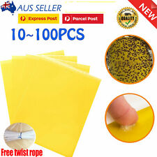 5 100x Yellow Sticky Glue paper Insect Trap Catcher Fly Killer Aphids Wasp Lot