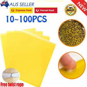 Up 100X Yellow Sticky Glue Paper Insect Trap Catcher Killer Fly Aphids Wasp Tape