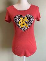 Bella Womens Kansas City Chiefs T-Shirt Top Size S Red Scoop Neck Animal Print