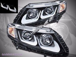 Fit For 2012 2013 Honda Civic Coupe Sedan Projector LED U Style Black Headlights