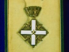 Vintage Italian Italy MERIT Enameled Cross Order Medal Badge w/ Box