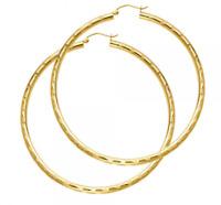 "Diamond Cut 14K Yellow Gold 3 mm Round Big Large Hollow Hoop Earrings 55MM / 2"""