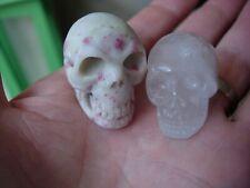 Crystal skull pair red epidote and orange golden healer quartz
