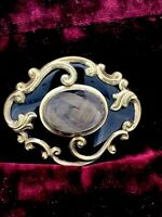 Antique Victorian Brooch Gold Mourning Enamel glassed hair writings C1857 Rare