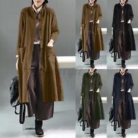 ZANZEA Women Solid Corduroy Overcoat Long Jacket Cardigan Coat Button Cuffs Suit
