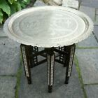STUNNING  ANTIQUE INDIAN  INLAID FOLDING SIDE TABLE WITH  BRASS TRAY