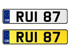* RUI 87 * DATELESS 3X2 CHERISHED PERSONAL PRIVATE REGISTRATION NUMBER PLATE RU