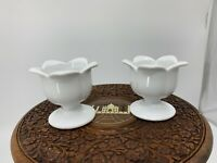 Vintage Set Of 2 Milk Glass XCELL Ceramic Tulip  Candle Holders