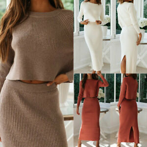 Women's Knitted Suit Solid Long Sleeve Sweater and Skirt Two Piece Set Outfits