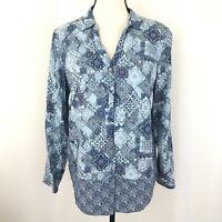 J Jill Women's Size M Half Button Down Abstract Top Shirt Blue Green Rayon Tunic