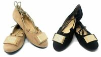 Women Lace Up Ballet Buckle Flat - Casual Loafers Slip-on Ballerina Shoes