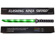 LED Ninja Sword Toy  Deluxe with Motion Activated Clanging Sounds - GREEN