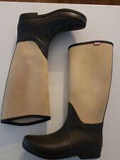 Hunter Womens Regent St. James Canvas Beige Rain Boots Size US 10 EU 42