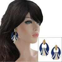 Vintage 1980s Doorknocker Pierced Earrings Navy Blue Cream Enamel Gold Tone
