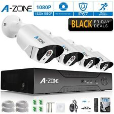 A-ZONE Security 4 Channel 1920P NVR HD 1080P IP PoE Security Camera System wi...