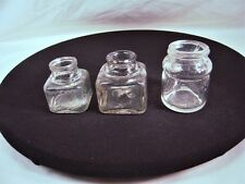 """COLLECTIBLE Set of 3 Jars - Clear Glass Ink Well - Carters - 2 1/8"""" - 2 5/8"""""""