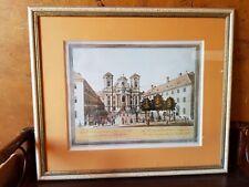 Ancien Tableau Gravure Eglise Josephstradt Sous Verre + Cadre Bois Vintage