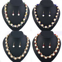 Fashion Crystal Faux Pearls Jewelry Set Pendant Statement Necklace Earrings
