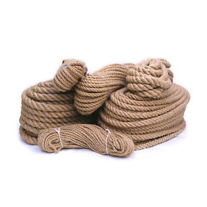 100% Natural Pure Jute Hessian Rope Cord Twisted Garden Decking 6mm- 40 mm Thick