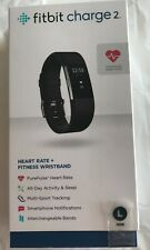 Fitbit Charge 2 HR Heart Rate Monitor Fitness Wristband Black size LARGE