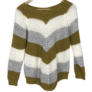 Quiz Size 8-10 Small Striped Chevron Crochet Style Long Sleeve Casual Jumper