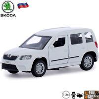 Diecast Compact SUV Scale 1:36 Scoda Yeti White Russian Model Cars