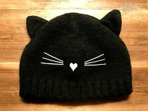 Halloween Old Navy, Baby Girls Size L Black Cat Hat Whiskers And Heart NWOT