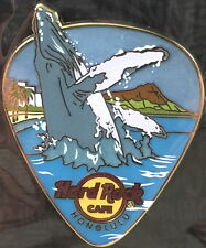 Hard Rock Cafe HONOLULU 2017 WHALE Jumping on GUITAR PICK PIN on CARD LE 300!