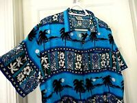 Tropic Threads Hawaiian Tropical Print Shirt- size XL  Moonlight & Palm Trees!