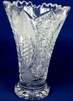 "Queen Lace Hand Cut Leaded Crystal Vase 8 1/4"" T Wide Opening Vintage Bohemian"
