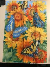 Sunflower and Butterfly Welcome Screen Printed Garden Flag