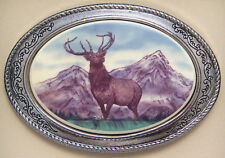 Belt Buckle Barlow Photo Reproduction in Color Elk Western Silver 592607c NEW