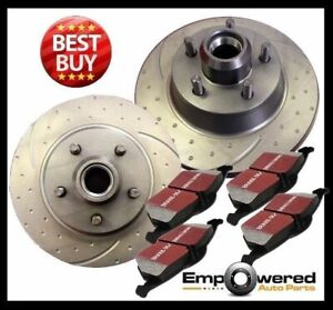 DIMPLED SLOTTED FRONT DISC BRAKE ROTORS + PADS for Chevrolet Camaro 1970-1978