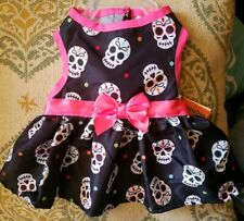 SimplyDog Dog Cat Costume XS Sugar Skull Punk Goth Halloween Pink Bow Dress NEW