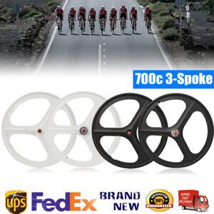 700c Fixed Gear 3-Spoke Mag Wheels Rims Set of Front & Rear Fixie Bike